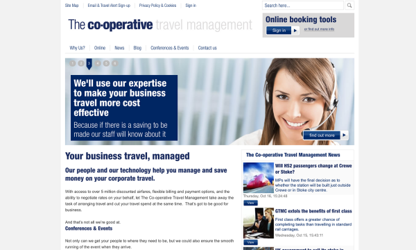 The Co-operative Travel Management website resembles the style of the Group