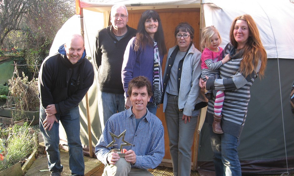 Complete Wasters' key members Colin Bowles (left),  Deborah Parker (right, with Emily) and Darren Potter (kneeling), with volunteers Stuart, Monica and Linda