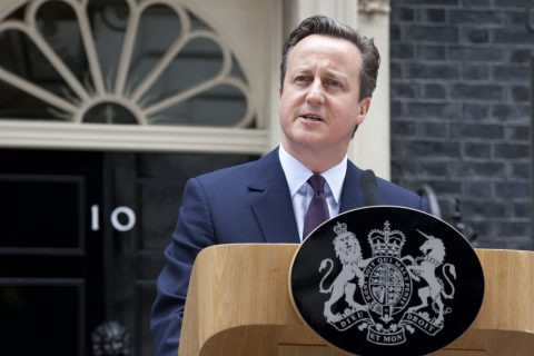 David Cameron delivers his speech following the result of the general election