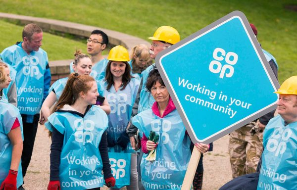 Co-op Group colleagues tidying up Heaton Park in Manchester.