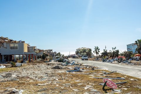 Buildings damaged by Hurricane Michael on Mexico Beach, Florida