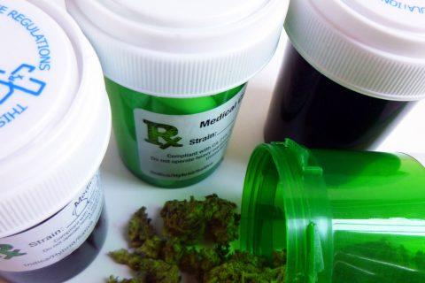 Containers of prescription cannabis