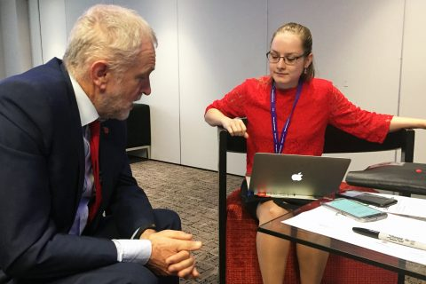 Jeremy Corbyn discusses co-op values with Co-op News writer Anca Voinea