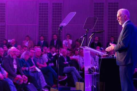 Jeremy Corbyn addresses the Co-operative Party conference (Image: Co-operative Party / Krzysztof Kseba)