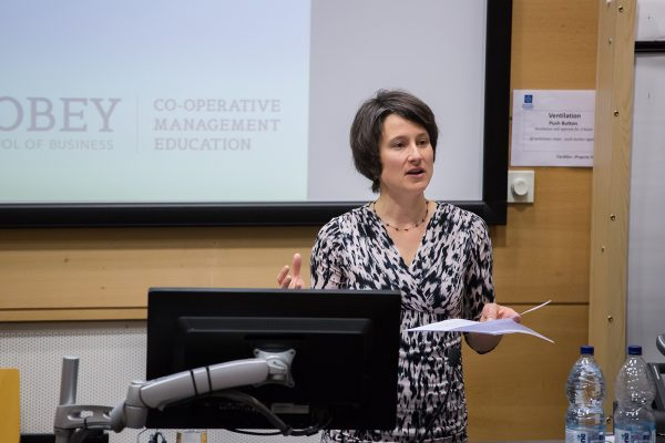 Karen Miner at the Co-operative College's Co-operative Education Conference in Manchester, 21-21 April 2016