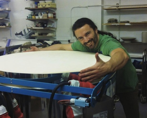 Guillermo Justel from Ceramics Studio Co-op, a member of cultural.coop, with the group's new kiln. [photo: Ceramics Studio]