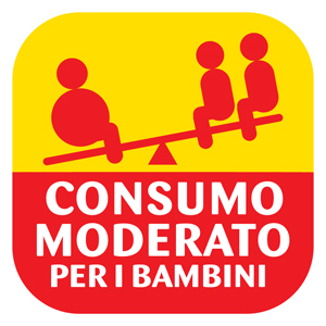 Italy's logo: 'Moderate consumption for children'