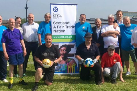 Launch of the Fair Play East Ayrshire in Scotland. The group supports fairly-traded sports balls.