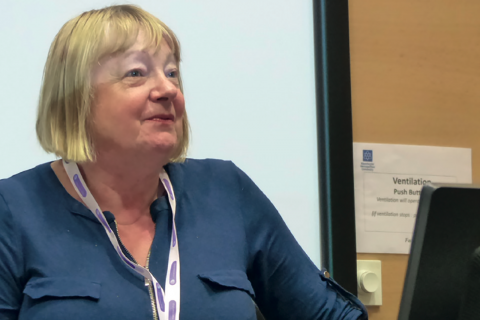 Linda Shaw speaking at the Co-operative Education Conference in Manchester