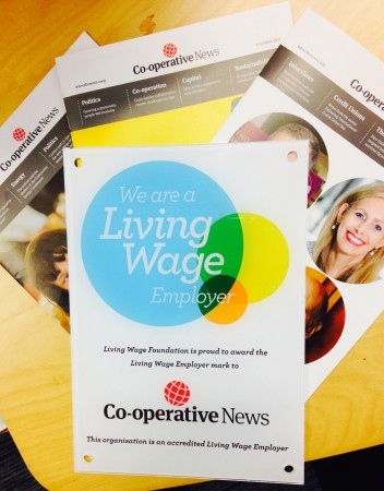 Living Wage-accredited employers receive a plaque to recognise their status