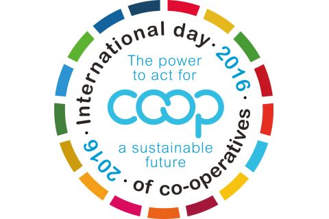 The logo for the International Day of Co-operatives 2016, taking place on 2 July