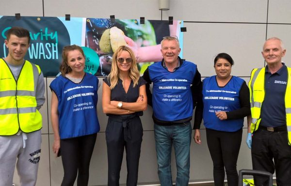 Britain's Got Talent's Amanda Holden helped Midcounties Co-op with a car wash.