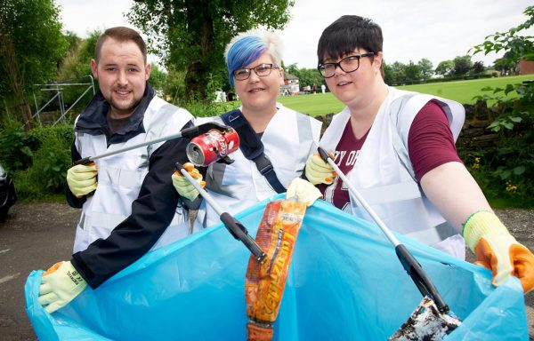 Members of the Co-op Group picking litter in Mirfield.