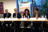 Money grows on trees' took place in December in Brussels, and looked at how co-operative enterprises can support young people (Left-right: Sébastien Chaillou (Solidarité Etudiante); Simone Baldassarri (DG Enterprise and Industry); Lloyd Russell-Moyle (European Youth Forum); Anneliese Dodds (MEP); Klaus Niederländer (Cooperatives Europe); and Paolo Campagnano (ImpactHub Rovereto))