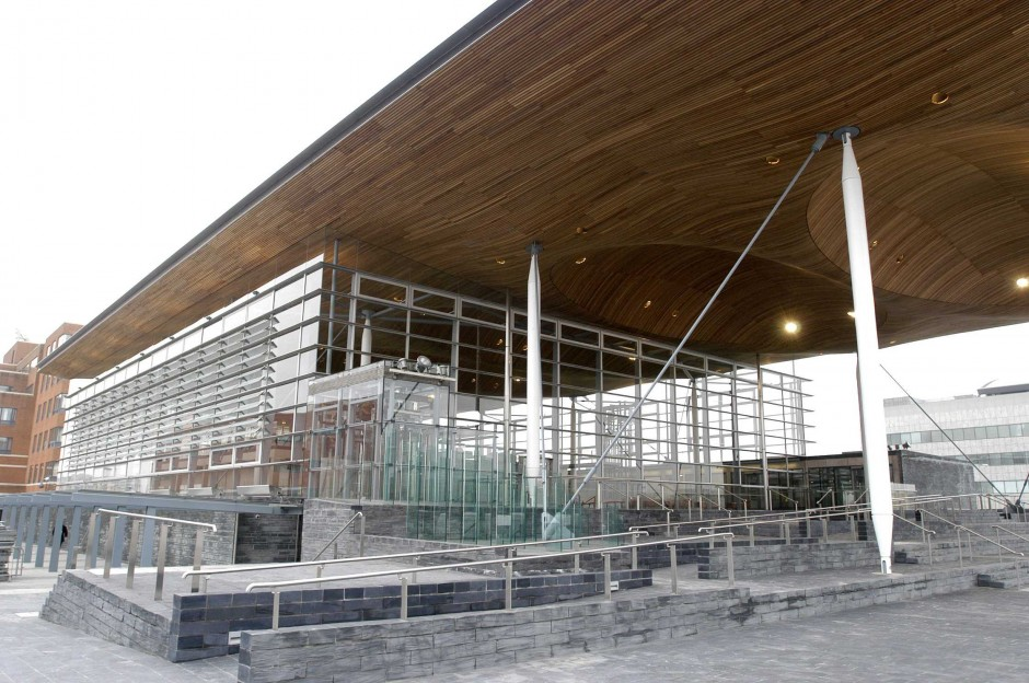 The Senedd, also known as the National Assembly building, Cardiff Bay.