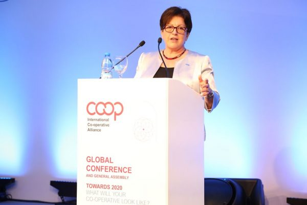 Dame Pauline Green speaking at the International Co-operative Alliance's Global Conference and General Assembly