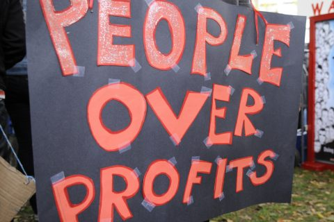 An Occupy protest in response to the financial crisis calls for people over profits. Image: arindambanerjee / Shutterstock.com.
