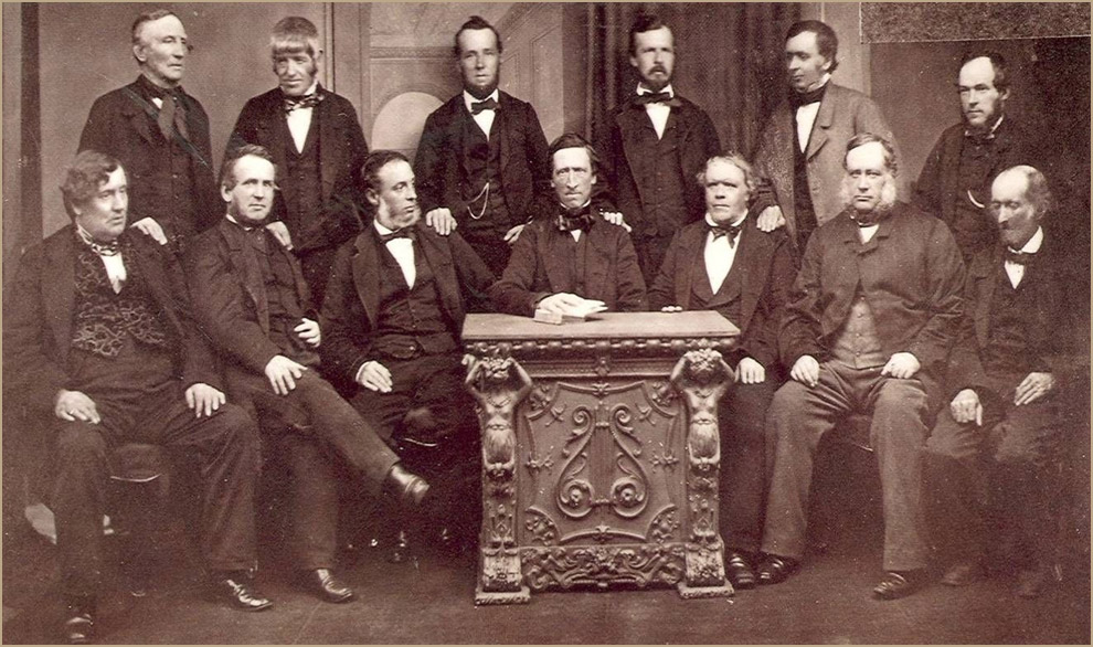 Spot the difference: In 1865, 14 of the original pioneers were photographed as the Rochdale model spread