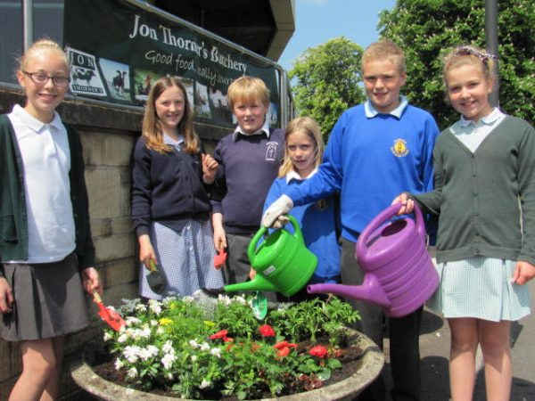 Collaboration with local school to support Radstock Town's entry into Britain in Bloom competition
