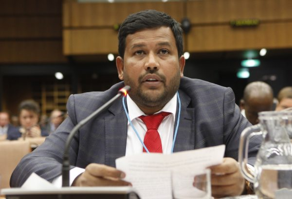 Rishad Bathiudeen speaking at a UNIDO forum in 2015 [photo: UNIDO/Flickr]