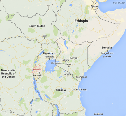 Rwanda is a land-locked country in East Africa of approximately 12 million people [photo: Google Maps]