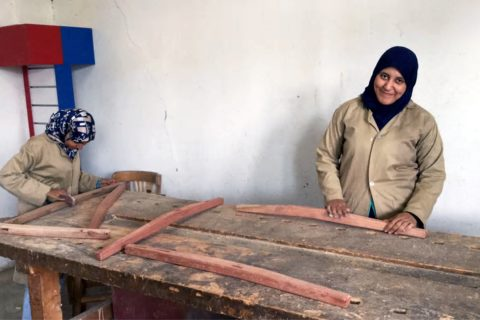 Women take carpentry lessons at Sekem