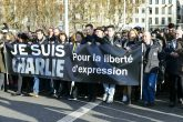 Peaceful march in Lyon, France in solidarity with Charlie Hebdo, 15 January
