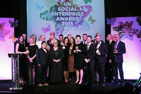 All the winners from the Social Enterprise UK Awards 2015 at the ceremony.