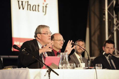 Co-operatives UK chair, Nick Matthews, speaks at the AGM [photo: Co-operatives UK]