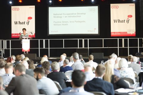 Dame Pauline Green address Co-op Congress 2016 at Unity Works, Wakefield [photo: Co-operatives UK]