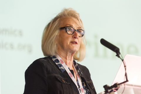 Ann Pettifor speaking at Congress in Wakefield on 18 June. (Photo: Co-operatives UK]
